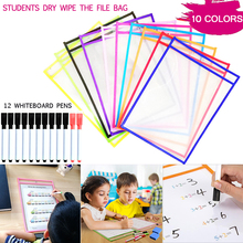 10 Oversized Reusable Soft Dry Erase Pocket Dry Wipe The File Bag Drawing Writing White Board Pen Teaching Supplies Document Bag