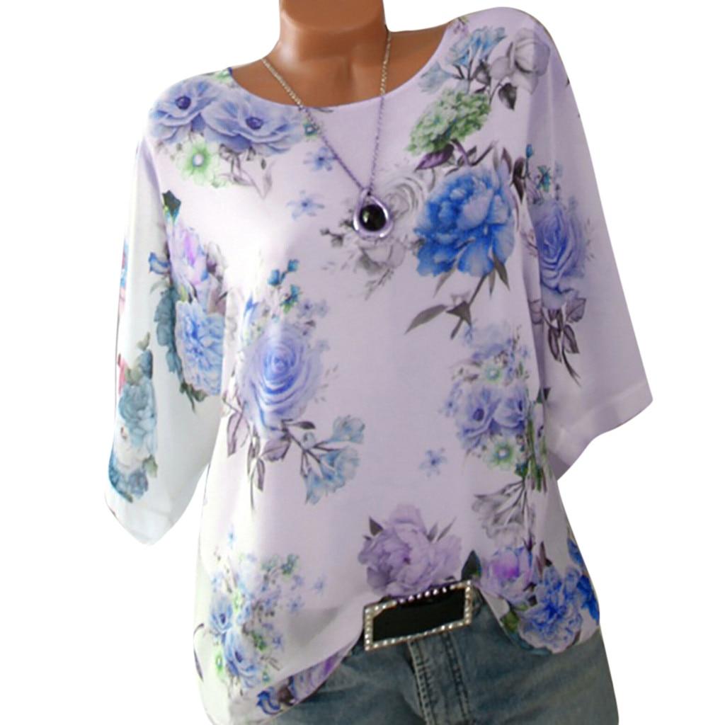 5XL Plus Size Blouse Summer Floral Print Women Chiffon Blouses Half Sleeve Beach Shirt Office Work Shirts Blusas Feminina Tops