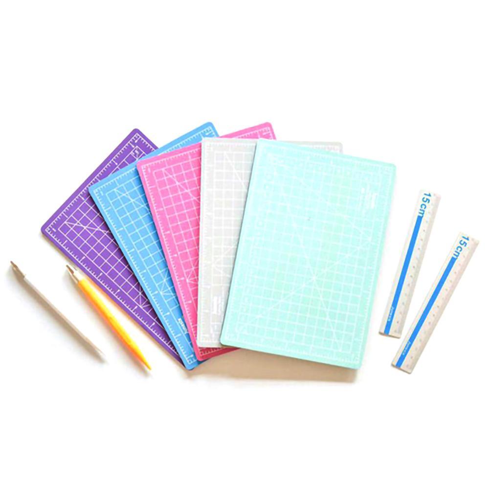 Color Art Pen Cutting Pad Set Cutting MatCarving Pen Aluminum Ruler Rotary Cutting Mat Three Piece Set