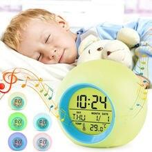 Creative Ronde Kleurrijke Klok Kalender Sferische Nachtlampje Wekker Nachtkastje Kinderen Digitale Gloeiende Klok Slaapkamer Producten