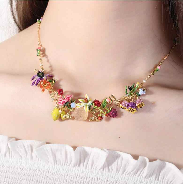 Handmade Designer enamel glaz flower gem lavender necklace Bracelet and ring Women's luxury jewelry
