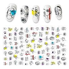 O novo 3d etiqueta do prego rosto personagem borboleta imagem abstrata folha de unhas decalque manicure adesivos para unhas decorações