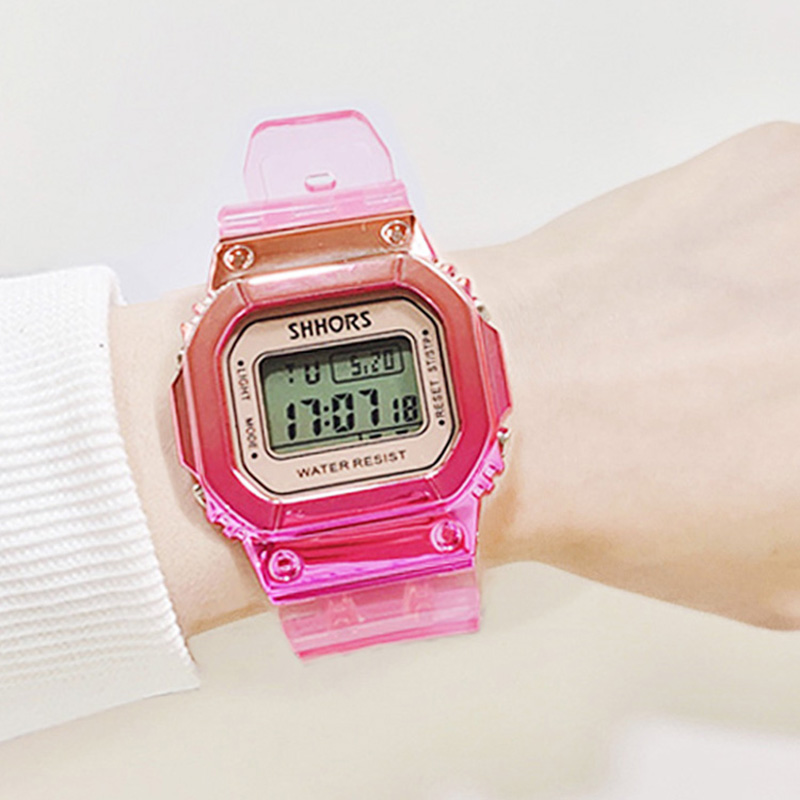 Rose Gold Women Digital Watch Multifunction Waterproof Women Watches Gradient Unisex Male Watch Rectangle Children Sport Watches