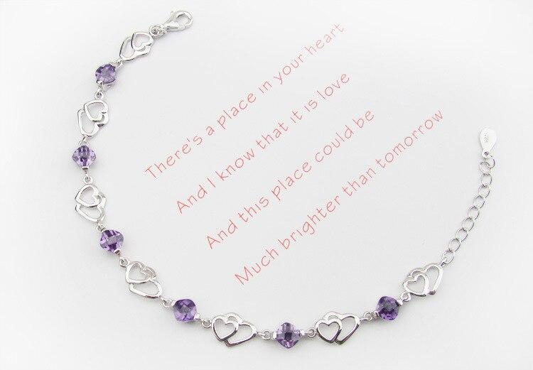 Fanqieliu Women Adjustable 925 Silver Bracelet For Women New Arrival Luxury Purple Crystal Heart Charm Bracelets FQL20F227