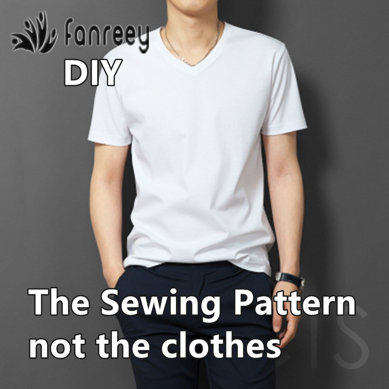 Men's V-neck T-shirt Sewing Patterns Template Cutting Drawing Clothing DIY WW-M971