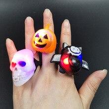 Хэллоуин пластиковое кольцо светодиодный Сияющий градиент Тыква Лампа кольца летучая мышь череп кольцо игрушка с сюрпризом