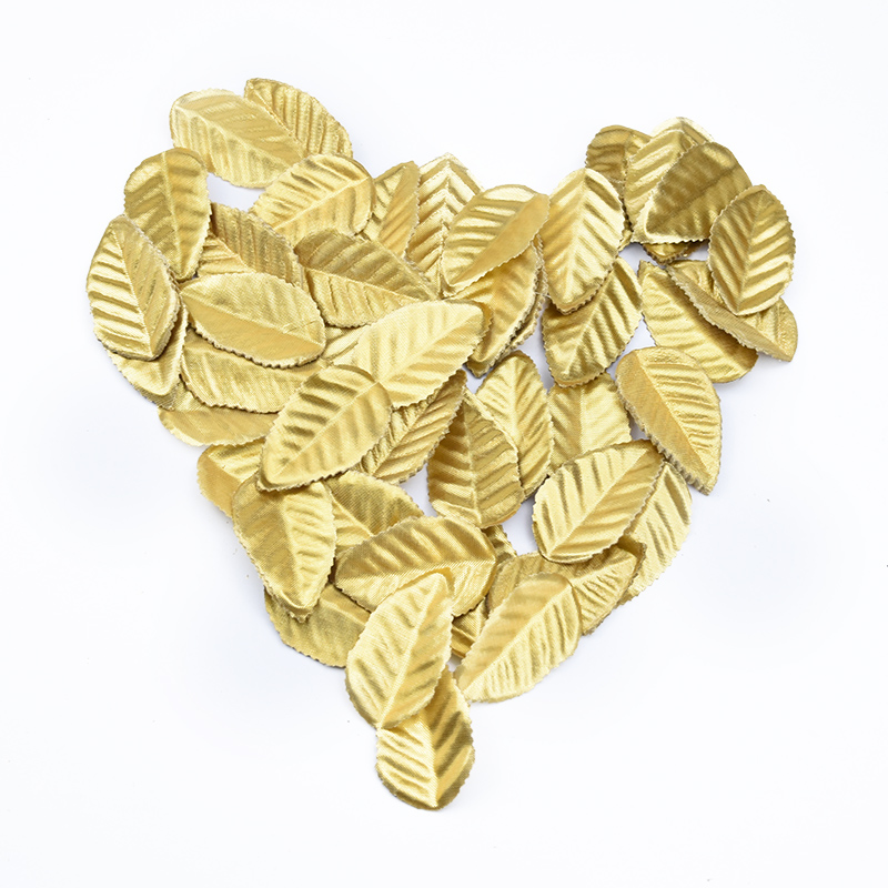 200pcs Golden Leaves Christmas Leaf Decorative Roses Flowers Artificial Plants Diy Gifts Box Scrapbook Wedding Brooch Home Decor