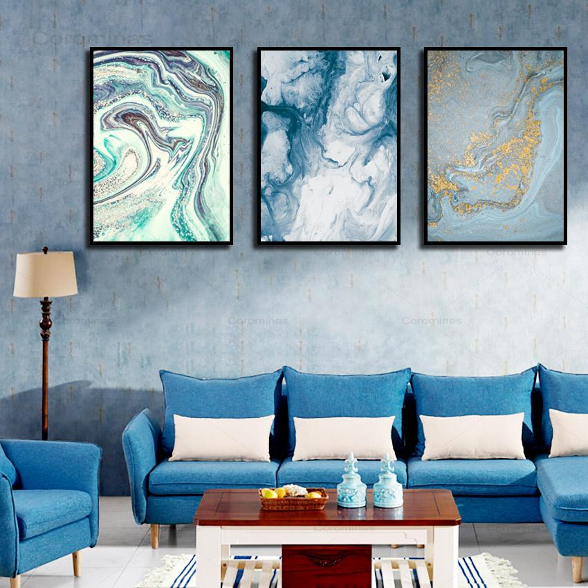 Blue Marble Abstract Poster Wall Art Nordic Posters Quicksand Canvas Painting Simple Atmospheric Living Room Decoration Painting