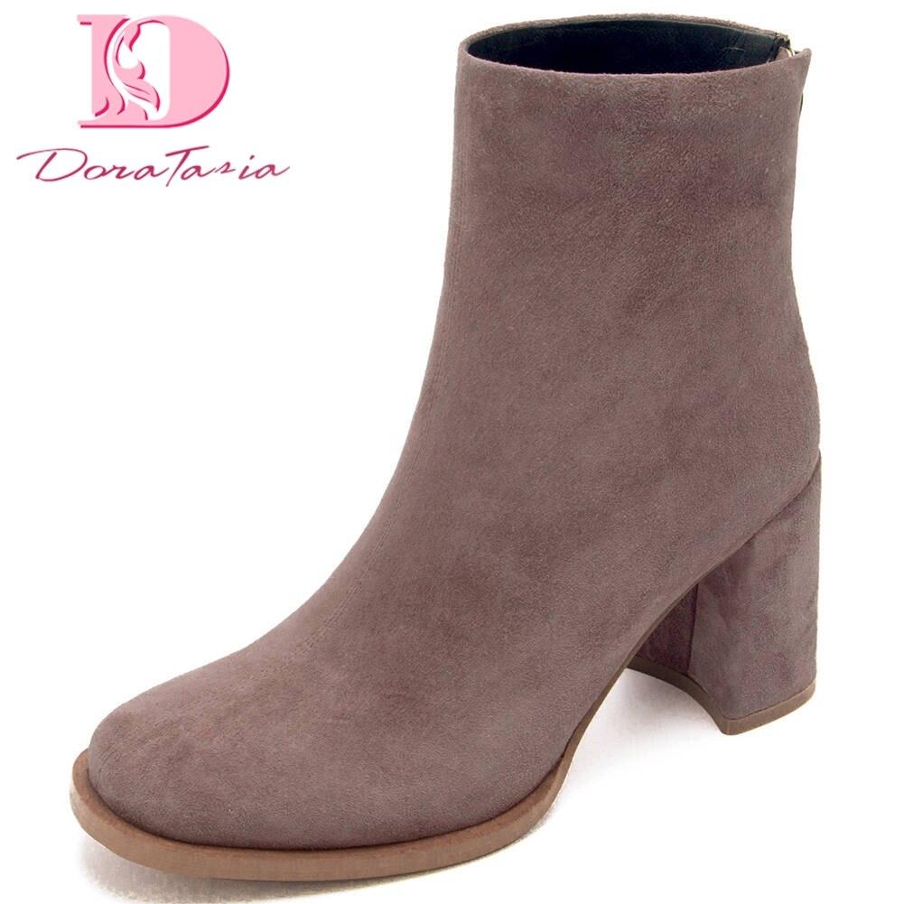Doratasia véritable vache haut en cuir qualité 2020 Concise chaussures femme bottes femme Chunky talons Zip Up bottines femmes chaussures