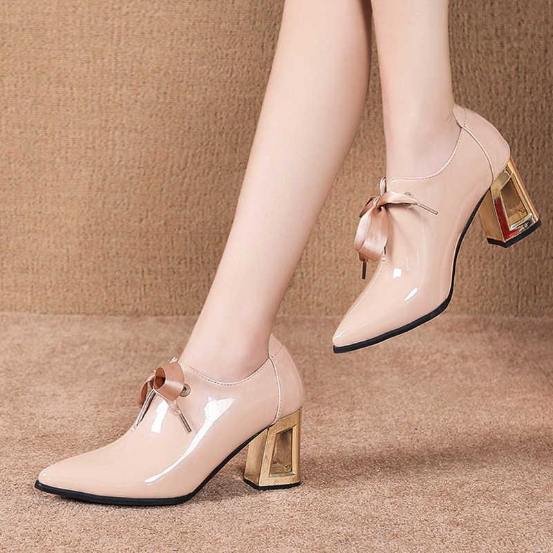 2020 frühling Frauen Schuhe Spitz Lace Up High Heels Spitz Dres Schuhe Patent Leder Bare stiefel Schwarz botas mujer 7969N