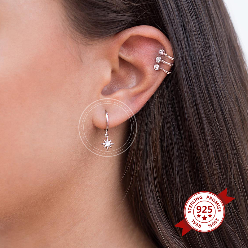 925 Sterling Silver Earrings Star Hoop Earrings for Women Tiny Huggie Hoops Earrings With Cubic Zirconia Minimalist Jewelry
