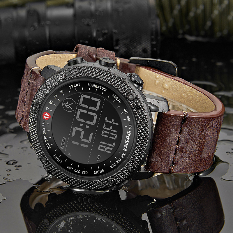 KADEMAN Top Luxury Brand Men's Sports Watch Waterproof Digital LED Military Leather Fashion Outdoor Wristwatches Relogio 6121G