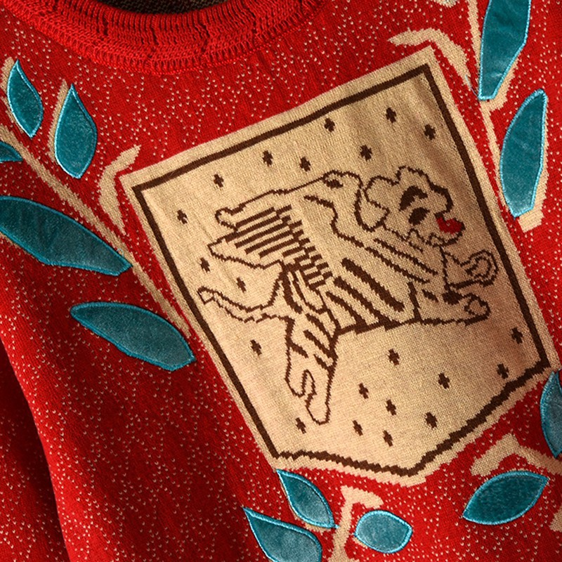 Europa Star estilo tejido suéter mujer Jacquard tejido perro hoja bordado punto cuello redondo Jersey manga larga Otoño Invierno - 3