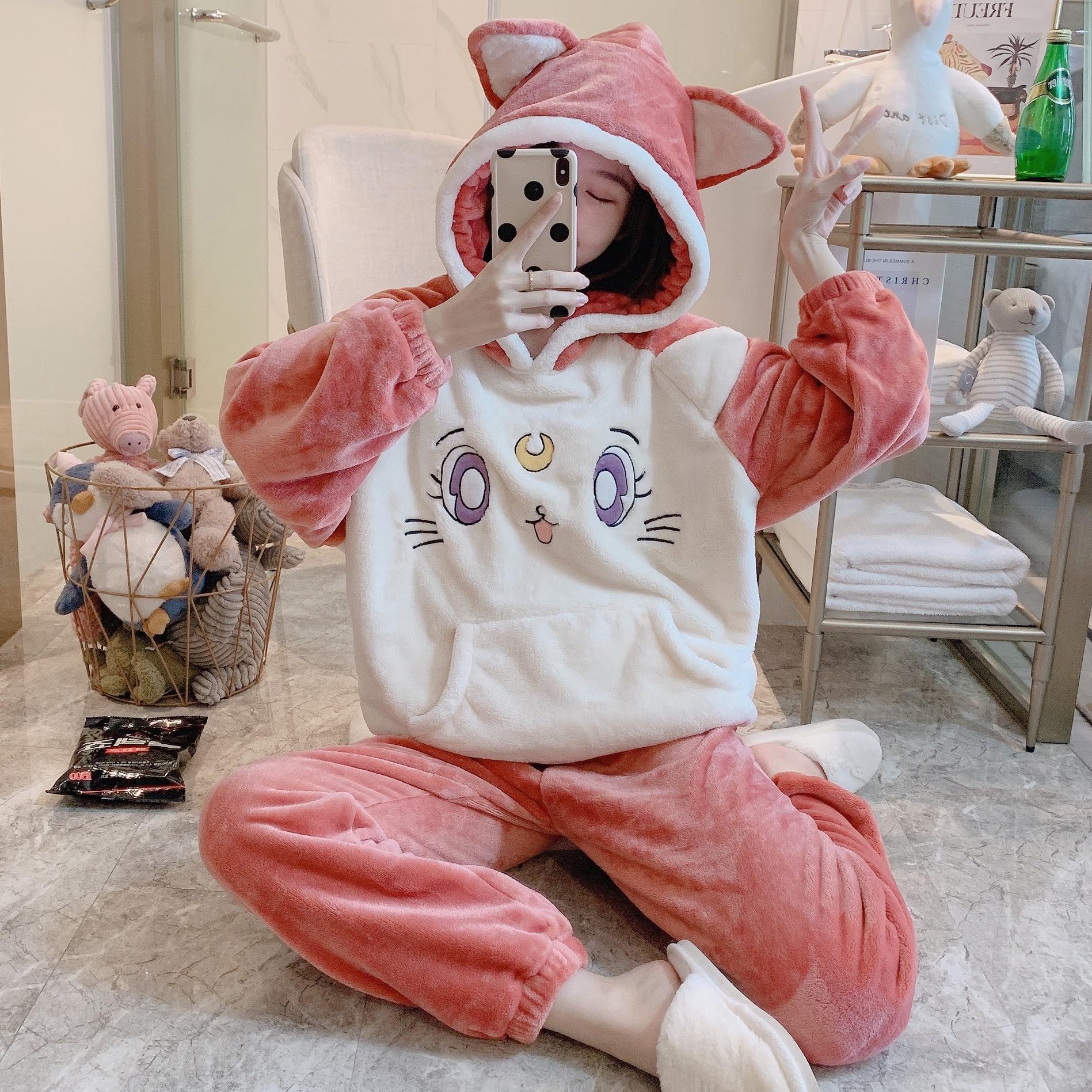 Pajamas Japan Anime Sleepwear For Women Winter Flannel Pijama Luna Cat With Ears Kawaii Homewear Costume