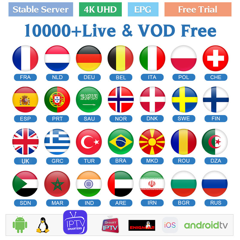 IPTV Italy Arabic Canada Netherland Greek Italia Europe 4K Full HD LIVE VOD Adult For Android BOX Smart TV IPTV M3U Subscription
