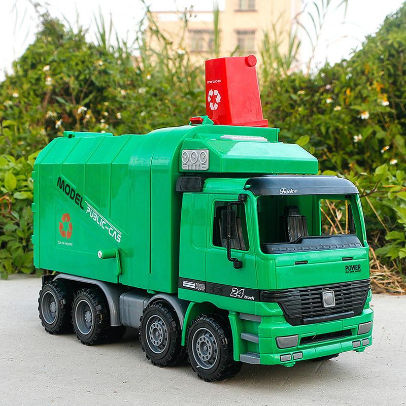 1:22 Children Sanitation Car Garbage Truck Toy Boy Simulation Inertia Engineering Diecast Cleaning Toy Vehicles Model Collection