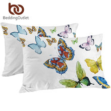 BeddingOutlet Butterfly Decorative Pillow Case Colored Printed Pillowcase Rectangle Microfiber Envelope Pillow Cover 2 Sizes(China)