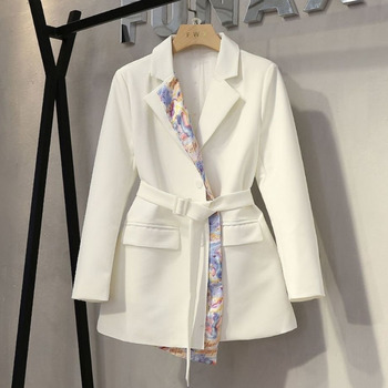 [EWQ] Long Sleeve Stitching Print Design Trendy Ladies Suit Korea Office Queen Blazer 2021 Autumn Autumn Suits Outwear Coat 16W5 1