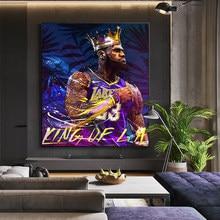 Abstracto james king arte da parede cartazes de basquete super estrela quadros em tela impressão na parede fotos para sala estar decoração