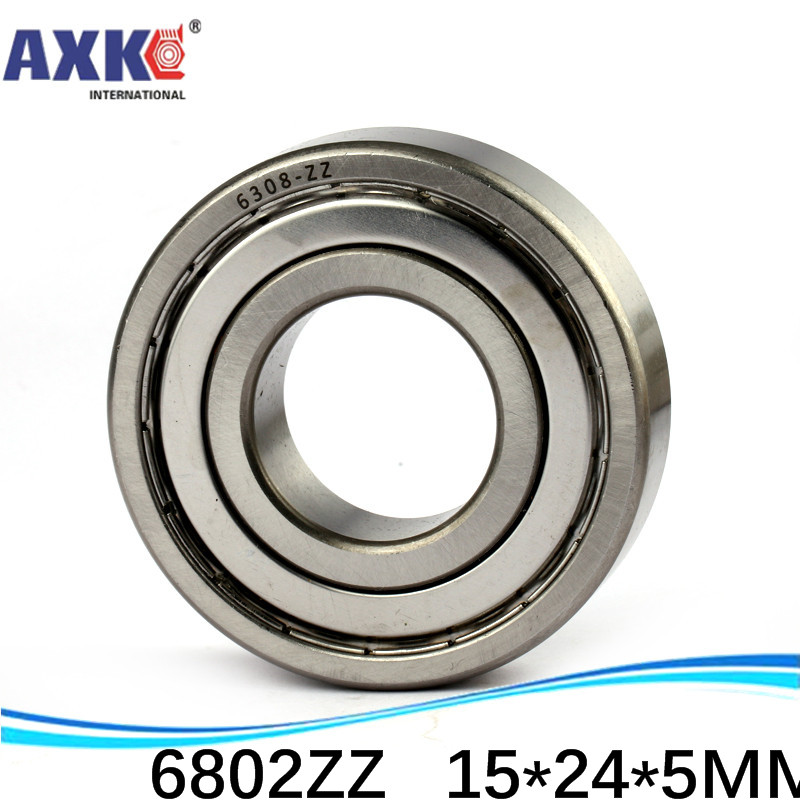 AXK sale price 500pcs free shipping thin wall deep groove ball bearing <font><b>6802ZZ</b></font> 15*24*5 mm ABEC-1 Z2 image