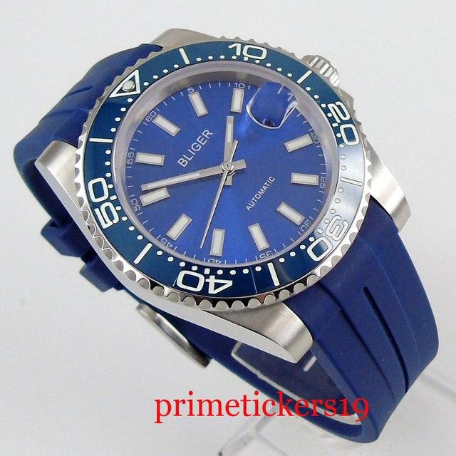 Automatic movement luxury 40mm blue dial date sapphire glass rubber strap blue ceramic bezel luminous mens watch