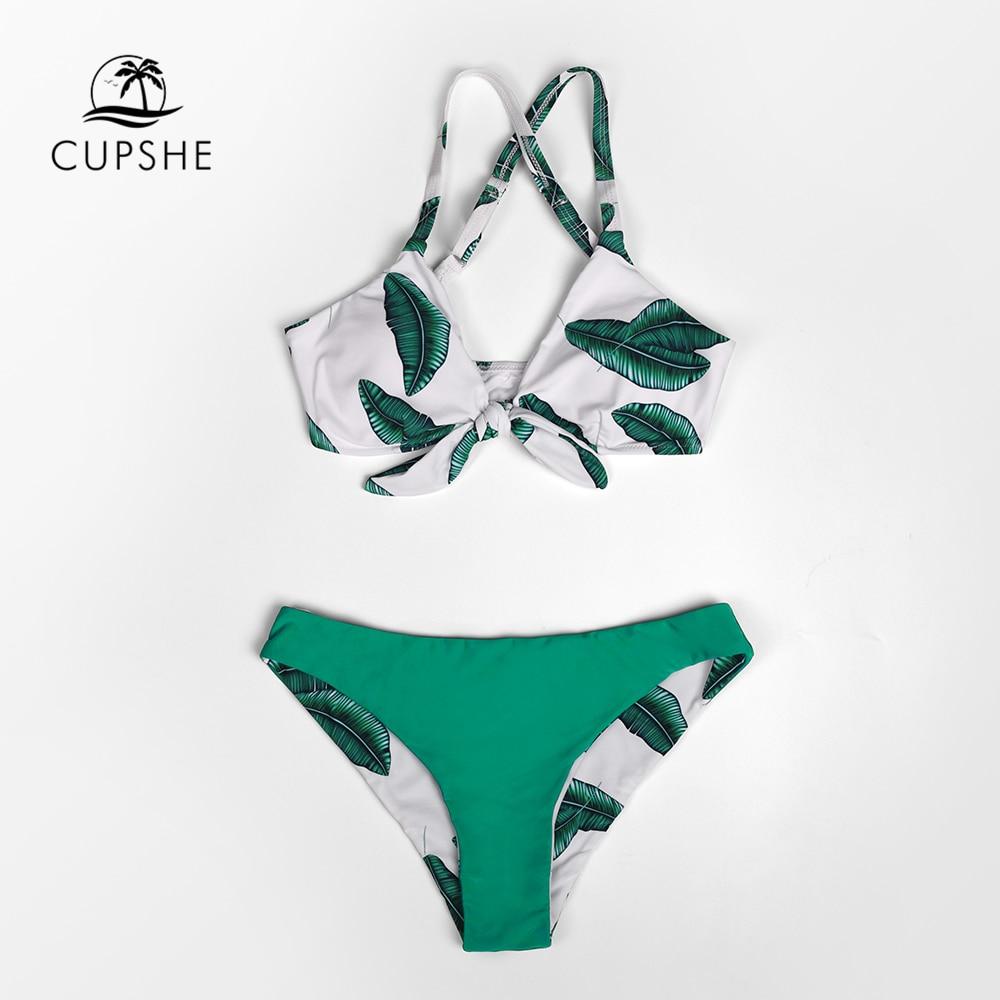 CUPSHE Leaves Print Bowknot Low-waist Bikini Sets Sexy Cut Out Tank Swimsuit Two Pieces Swimwear Women 2020 Beach Bathing Suit 2