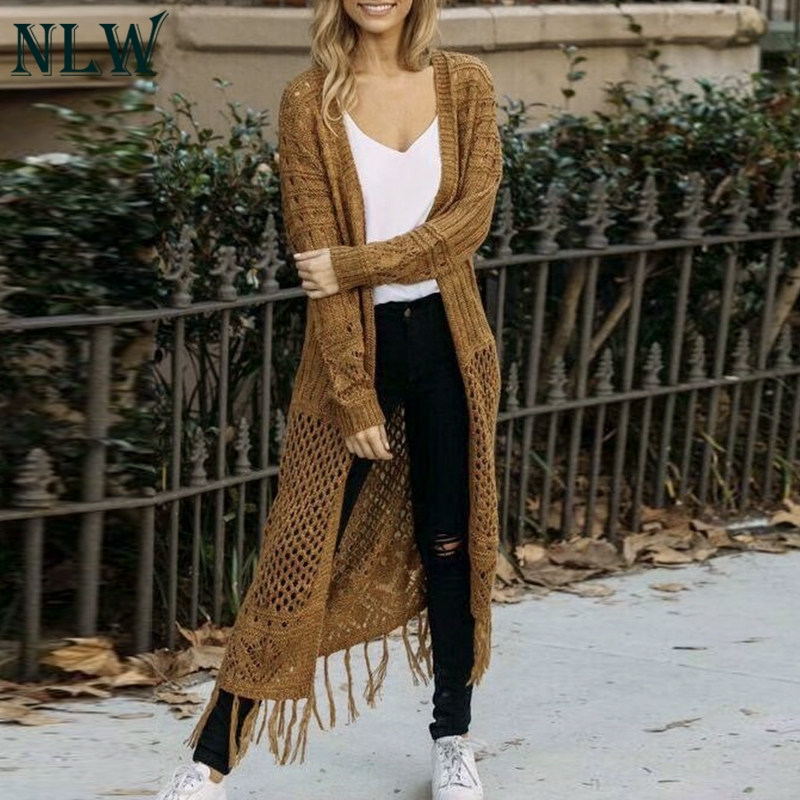 Fashion Casual Sexy Hollow Out Women Sweater Women Solid Winter Knitted Long Sweaters Womens Knitwear Cardigans Jumpers