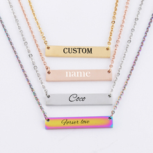 Customized Letter Bar Necklace Stainless Steel Personalized Name 4 Colors Pendant Engrave Word Letters Jewelry