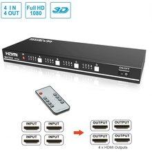 Apoio verdadeiro 1920x1080 @ 60hz 3d do switcher da matriz 4x4 do interruptor da entrada 4 do divisor 4 do interruptor de sgeyr hdmi com rs232, controle remoto