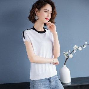 Женская футболка из ледяного шелка с круглым вырезом, короткая летняя футболка, простой и универсальный тонкий трикотажный джемпер, 2020