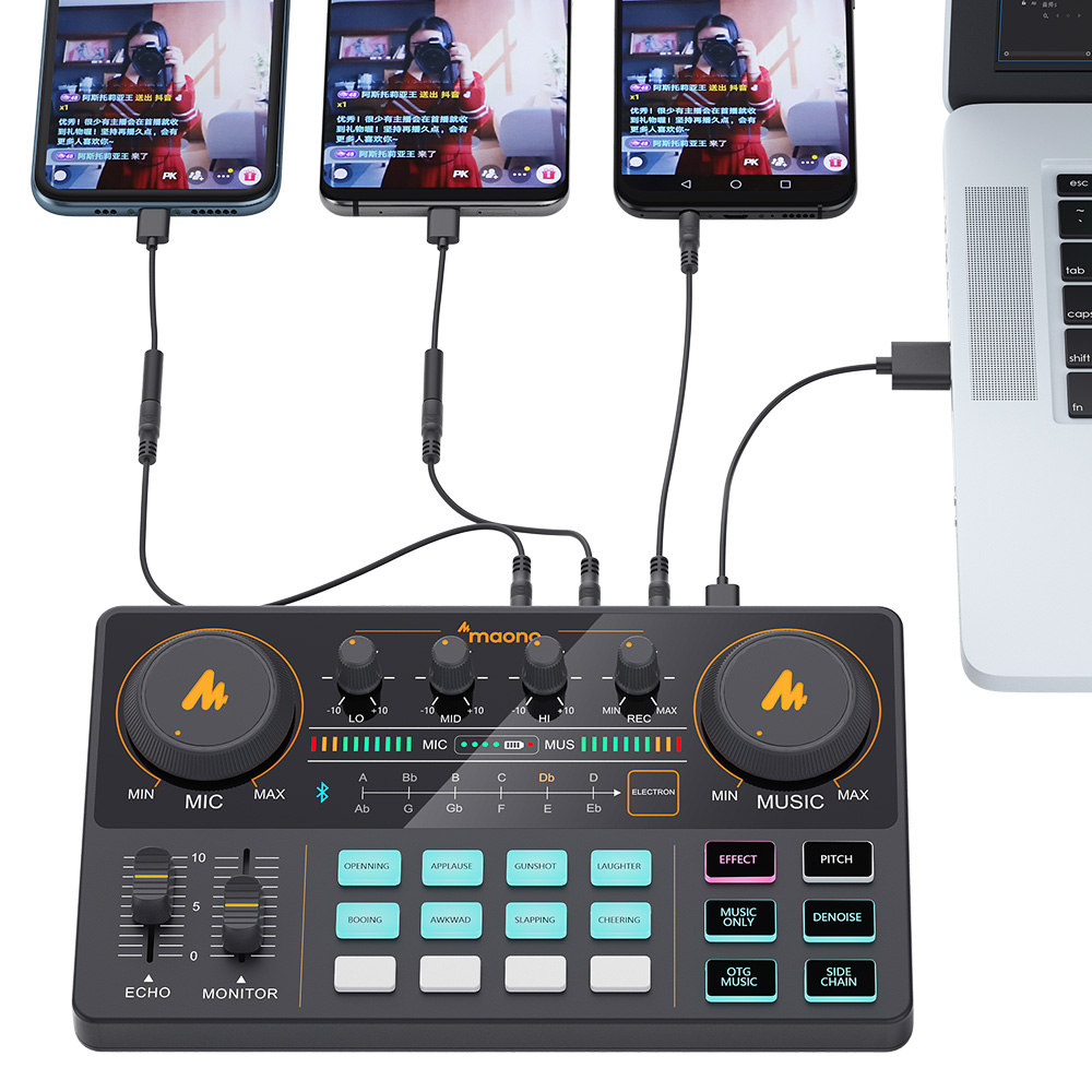 MAONOCASTER LITE AM200 Microphone Mixer Digital Audio Interface Podcast Sound Card Rechargeable Podcaster for Phone Computer PC