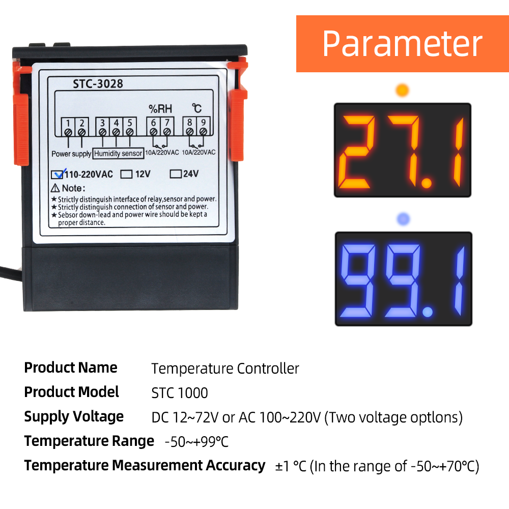 STC-3028 온도 컨트롤러 서모 스탯 습도 제어 온도계 습도계 컨트롤러 온도 조절기 12V/24V/220V 40%