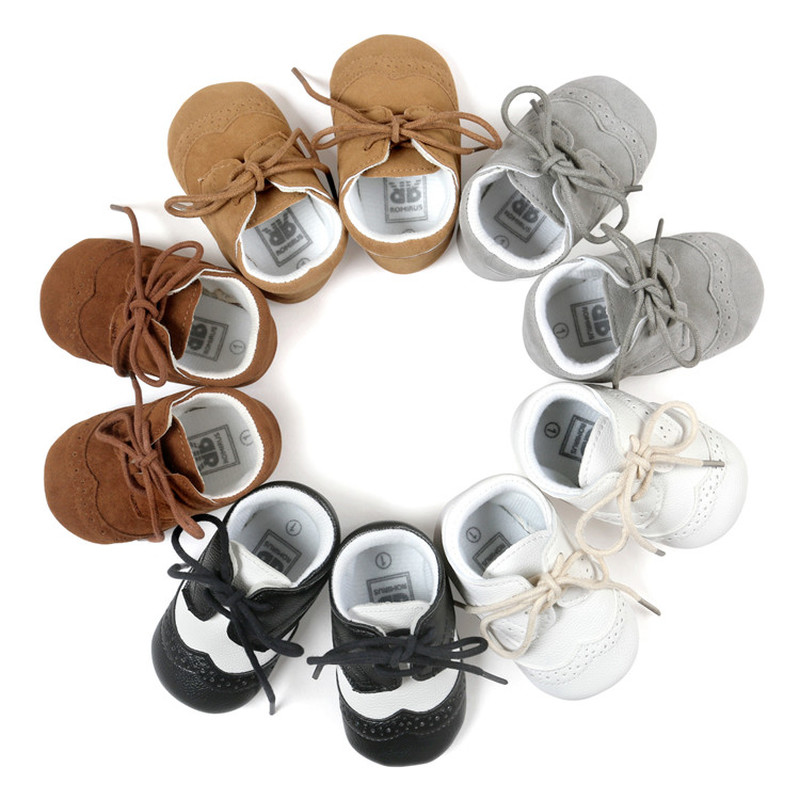 Infant  Baby Boy Girl Shoes Soft Rubber Bottom Solid Leather Oxford Dress Toddler Moccasins Crib Newborn First Walkers Shoes