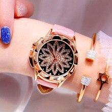 Flash Diamond Women Watch 2019 Popular Lucky Crystal Flower Rose Gold Luxury Leather Quartz Female reloj mujer