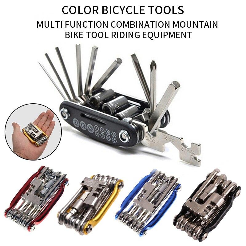 אופניים אופני כלי תיקון סט 15 ב 1 אופני תיקון כלי ערכת ברגים מברג שרשרת פלדת פחמן אופניים משולב כלי
