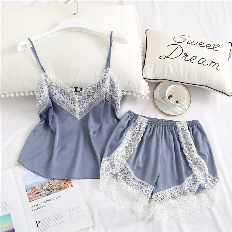 Lace Womens Pajama Set New Sexy Sleepwear Set Two-piece Solid Cute Satin Silk Lingerie White Lace V-Neck V Neck Shirt Shorts
