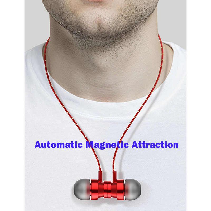 Metalowe magnetyczne sportowa słuchawka do biegania douszne słuchawki douszne dźwięk Stereo z mikrofonem 3.5mm zestaw słuchawkowy do telefonu komórkowego MP3 MP4 PC