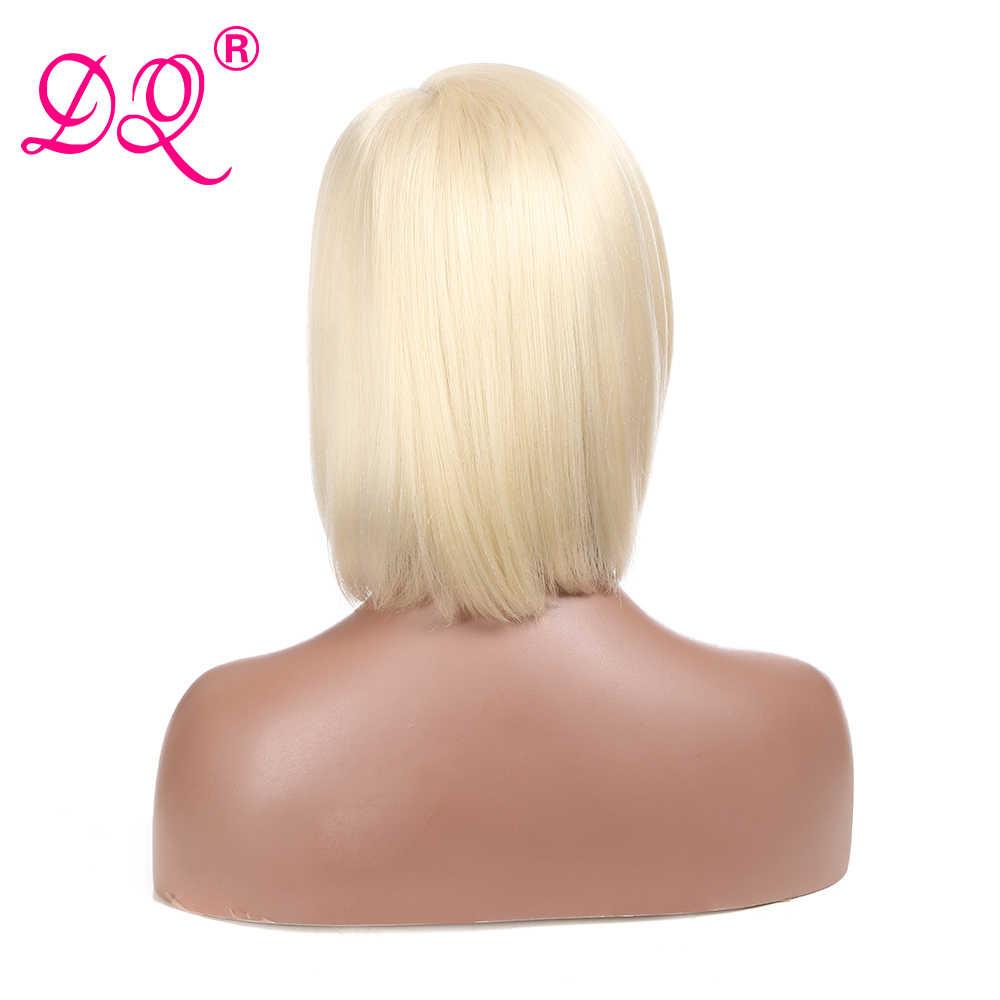 DQ peruka z krótkim bobem syntetyczna koronka peruka Front dla czarnych kobiet blond peruka włókno termoodporne peruka do Cosplay 12 cal przedziałek z boku peruka