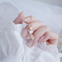 Zircon Necklace Fashion Jewelry Bear Real-Gold-Plating Women's Hot 14K Cute Copper Korea