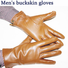 Sheepskin gloves men's autumn and winter plus velvet warm buckskin pattern champagne leather gloves