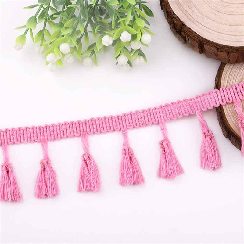 2 Yards Lace Ribbon Tassel Fringe Cotton Ethnic Lace Trim Ribbon Sewing Latin Dress,Pink