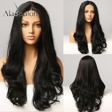 Synthetic Wigs Highlight Frontal-Hair Lace Black Alan Eaton Afro Body-Wave Middle-Part