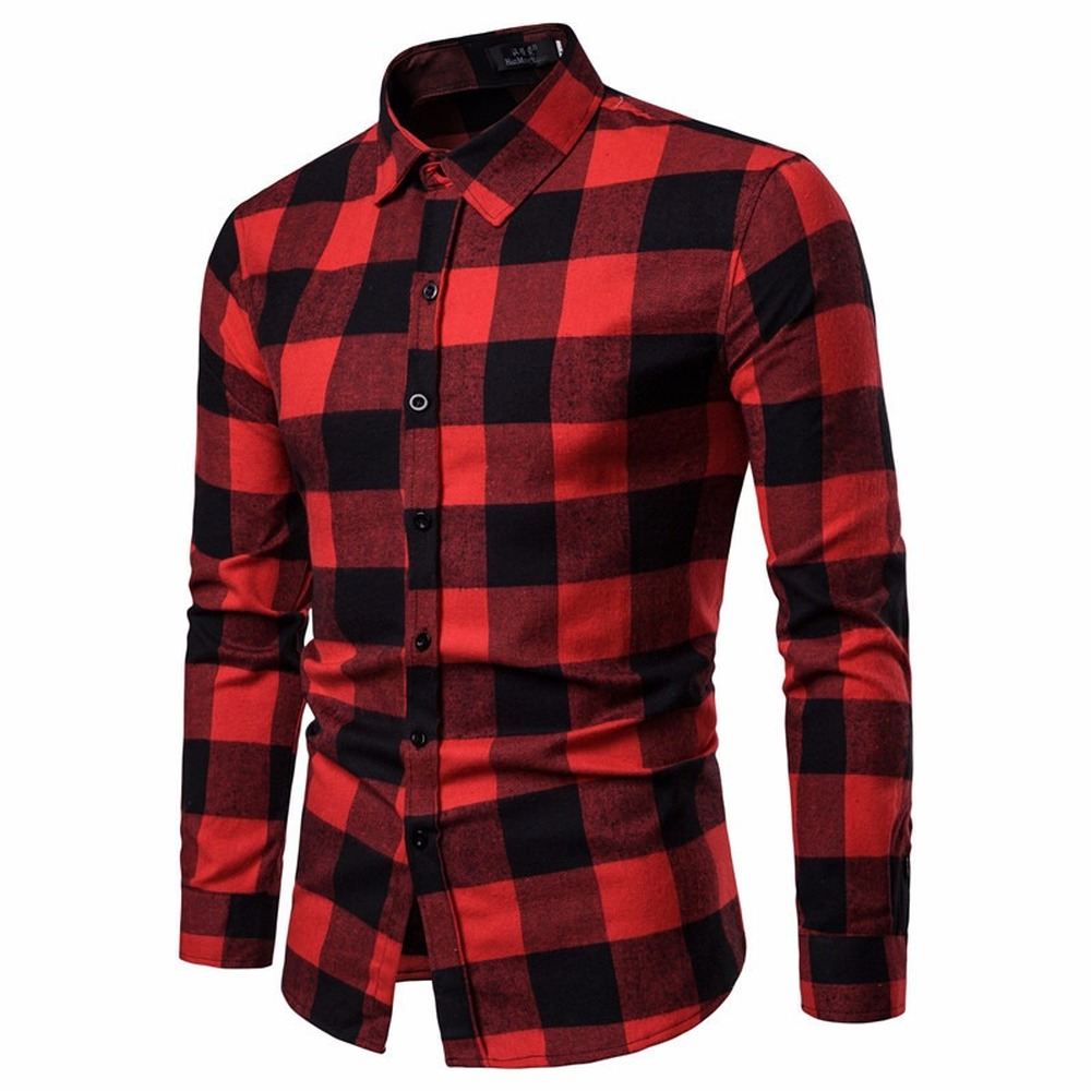 Fashion Slim Men's Thicken Plaid Casual Long Sleeve Shirt Cotton Lapel Print Men's Shirts 2020 New