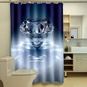 Bathroom Curtains Fabric 3d Shower Washable Diamond-Pattern South-African Waterproof