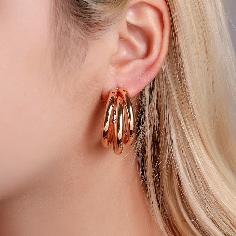 Bohemia Big Hoop Earrings C-Shape Large Circle Three Layer Earring Stud Exaggerated Charming Ear Jewelry For Lady Girls