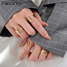 Foxanry – bague en argent Sterling 925, 26 lettres anglaises, pour femmes, mode Vintage, France, plaqué or, bijoux de fête irrégulière, cadeaux