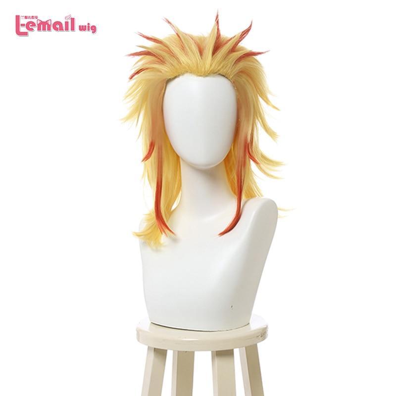 L-email Wig Demon Slayer Rengoku Kyoujurou Cosplay Wigs Kimetsu No Yaiba Rui Cosplay Wig Heat Resistant Synthetic Hair Halloween