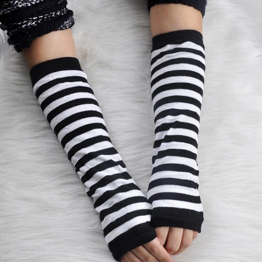 Женские длинные перчатки без пальцев, эластичные вязаные перчатки в полоску с длинным рукавом