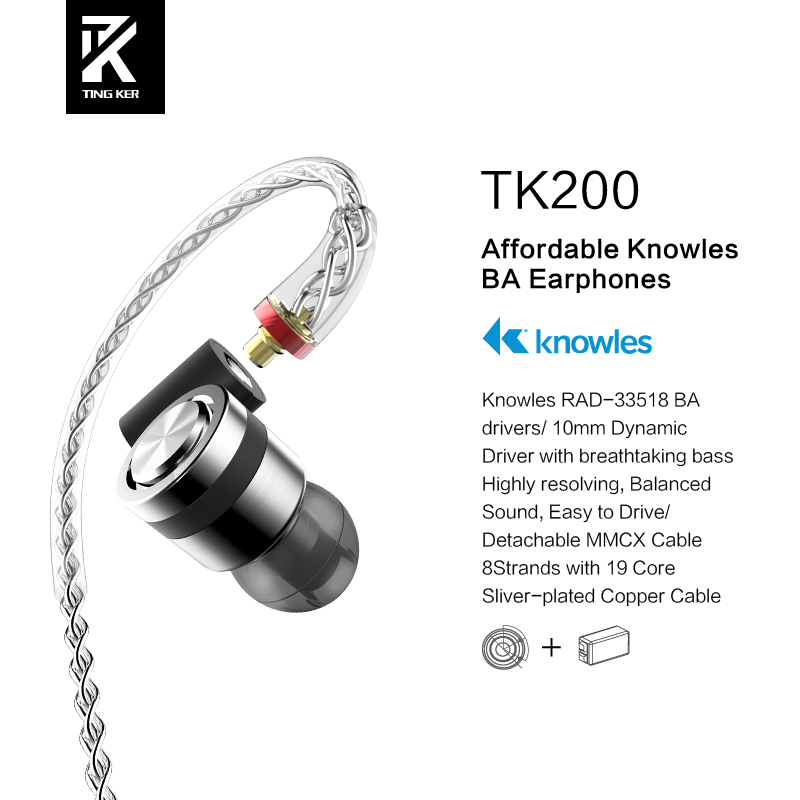 Tingker TK200 HiFi Stereo 1BA(Knowles)+1Dynamic Hybrid Earphones IEM With MMCX Detachable Cables With Deep Bass