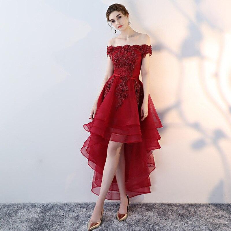 2019 nouvelle mode rouge dentelle robe de Cocktail courte genou longueur hors épaule robes pour la fête